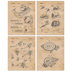 Vintage Vinyl Record Player Turntable Patent Poster Prints, Set of 4 (8x10) Unframed Photos, Wall Art Decor Gifts Under 20 for Man Cave, Home, Office, College Student, Teacher, Music DJ & Hip Hop Fan