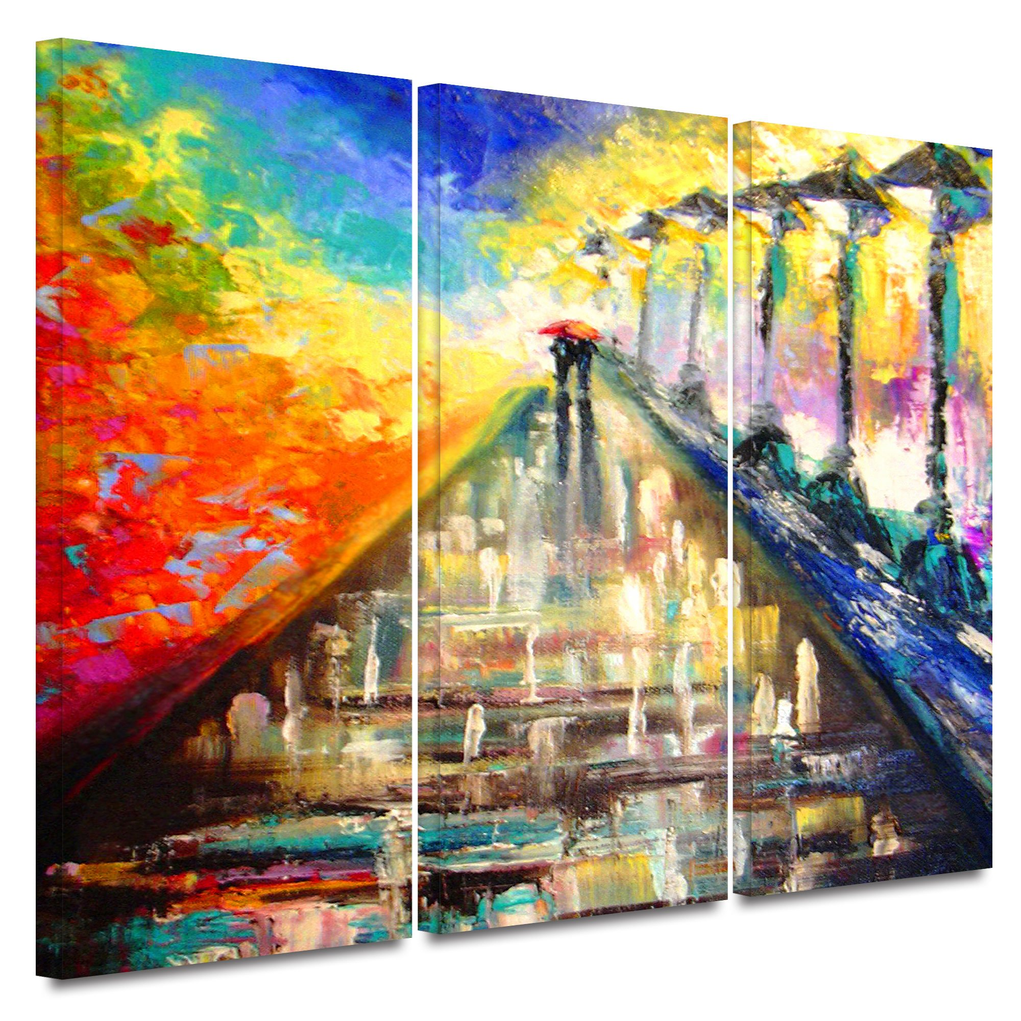 ArtWall Susi Franco 'Rainy Paris Evening' 3-Piece Gallery Wrapped Canvas Artwork, 36 by 54-Inch by Art Wall