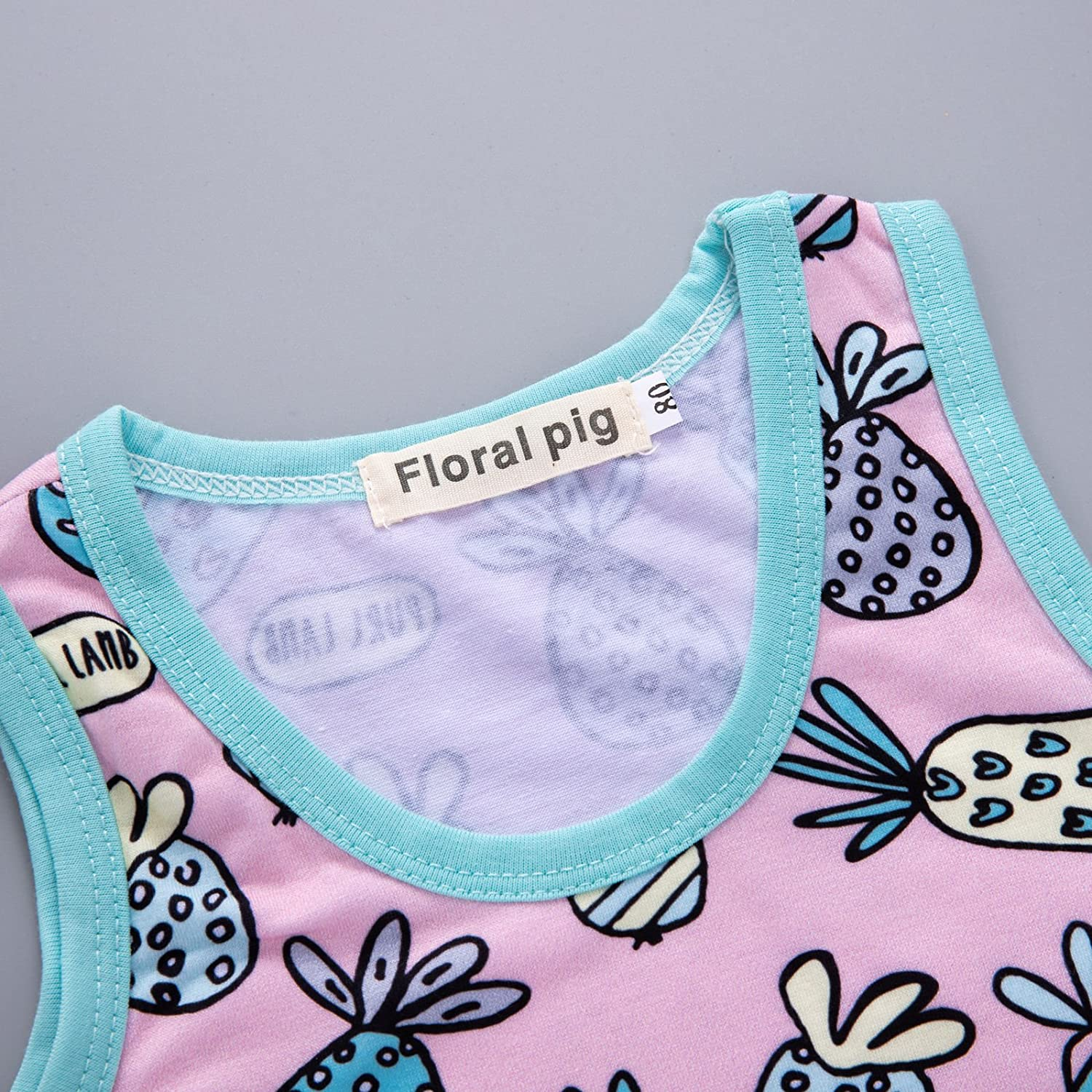 Infant Baby Toddler Boys Girls Summer Pineapple Tank Top with Short Summer Outfits