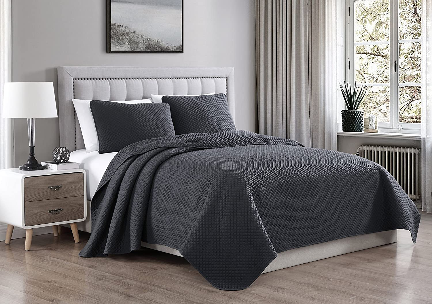 Cozy Beddings Elliott Diamond Stitched Design 2 Piece Prewashed Coverlet Quilted Bedspread Set, King/Cal-King, Charcoal Grey
