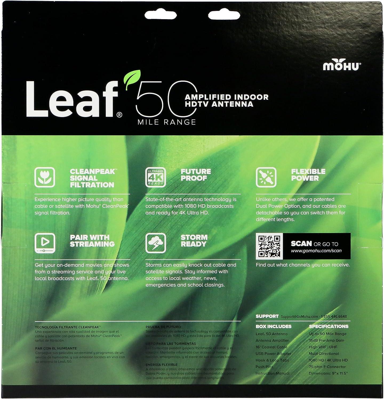 Mohu Leaf 50 TV Antenna Amplified 60 Mile Range MH-110584