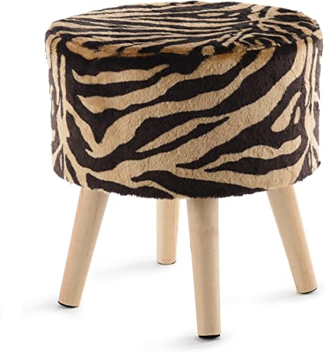 Cheer Collection Tiger Stripe Ottoman and Footstool 13 Round Decorative Faux Fur Stool with Wooden Legs