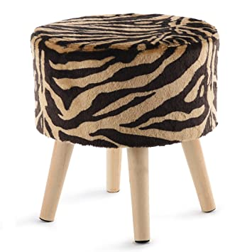 Amazing Cheer Collection Tiger Stripe Ottoman And Footstool 13 Round Decorative Faux Fur Stool With Wooden Legs Gmtry Best Dining Table And Chair Ideas Images Gmtryco