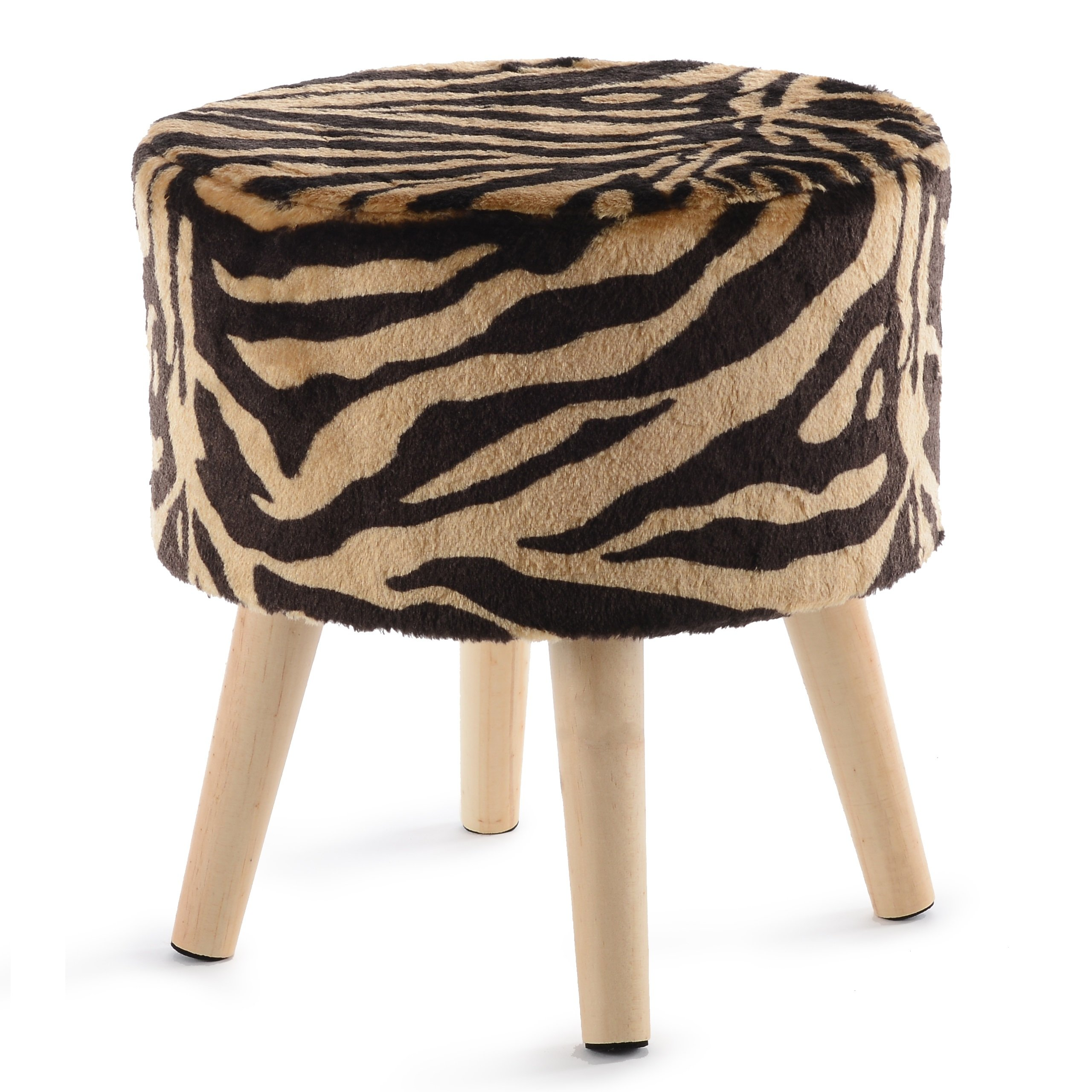 Cheer Collection 13'' Round Ottoman | Super Soft Decorative Tiger Print Faux Fur Foot Stool with Wood Legs by Cheer Collection (Image #1)