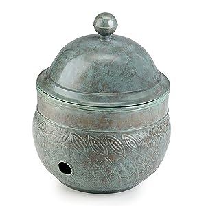 Good Directions Brass Key West Hose Pot with Lid, Blue Verde