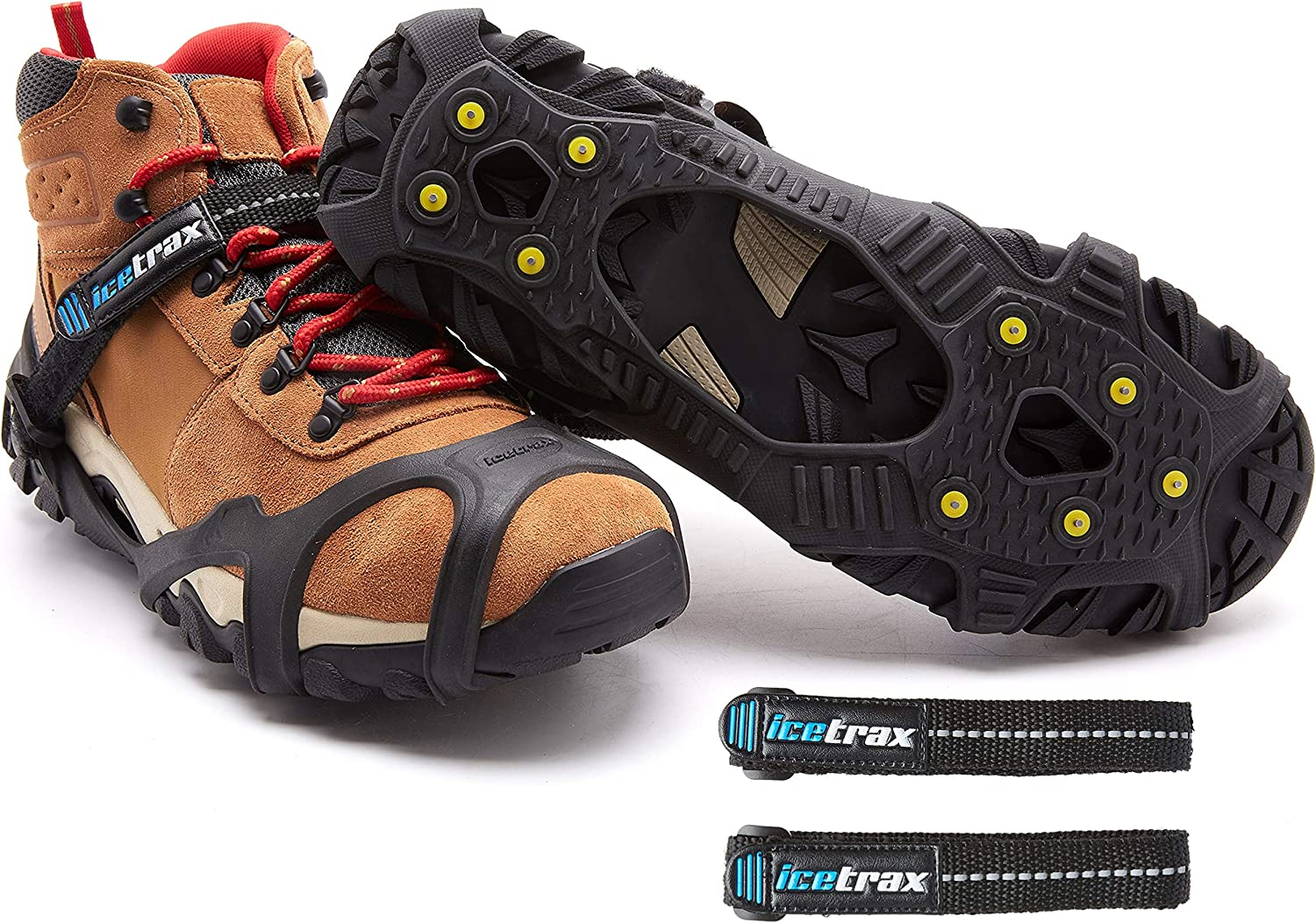 ICETRAX V3 Tungsten Ice Cleats with Velcro Straps, Winter Ice Grips for Shoes and Boots - Anti-Slip Grippers, StayON Toe, Reflective Heel