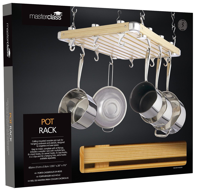 Kitchen Craft Master Class Deluxe Colgador de Techo para ollas en Madera 61 x 51 cm