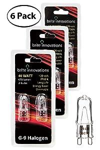 Brite Innovations G9 Halogen Bulb, 40 Watt – 6 Pack – Energy Saving - Dimmable - Soft White 2700K - 120V - Q40, CL, T4 JD Type, Clear Light Bulb