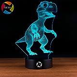 LE3D 3D Optical Illusion Desk Lamp/3D Optical Illusion Night Light, 7 Color LED 3D Lamp, Dinosaur 3D LED For Kids and Adults, T-Rex Light Up