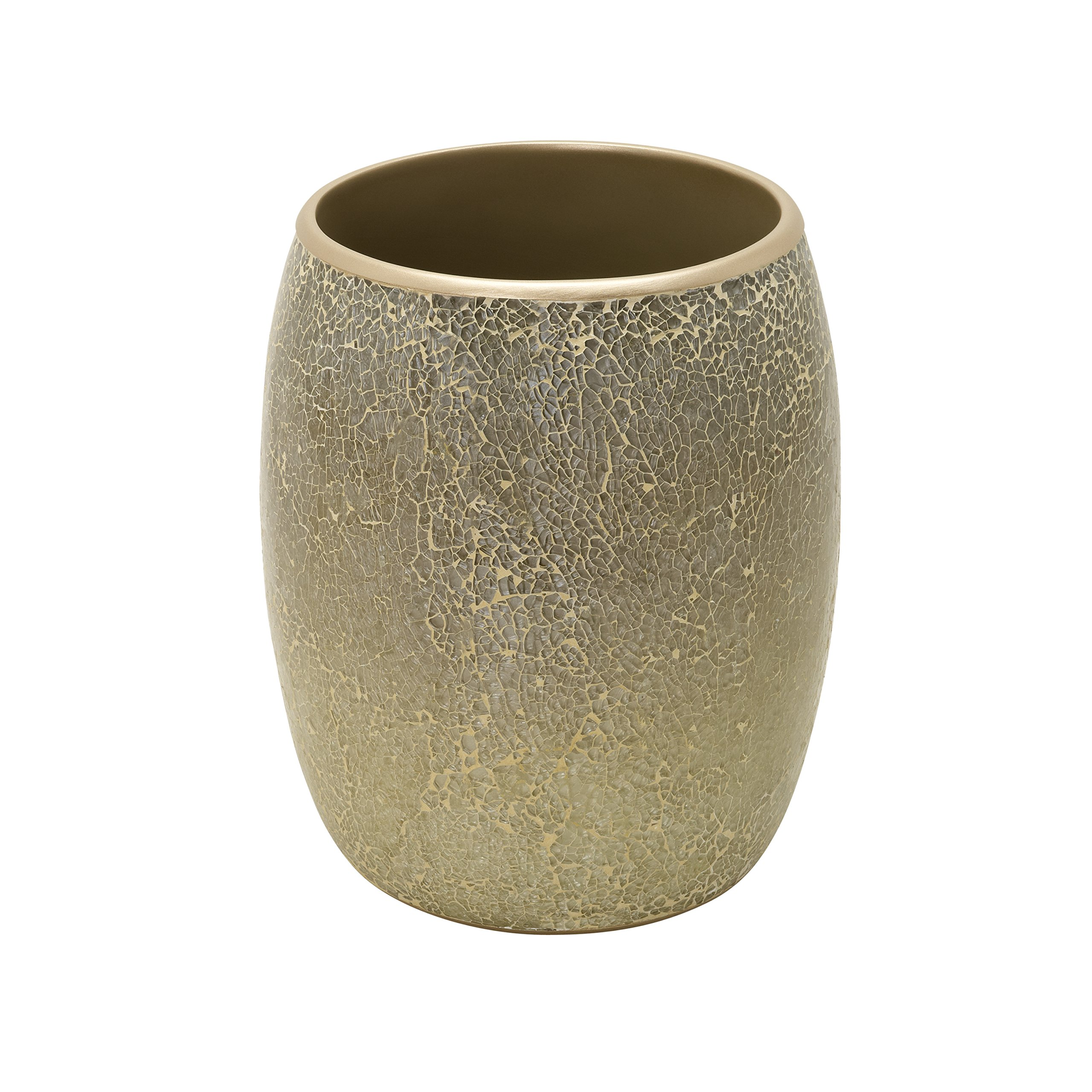Zenna Home, India Ink Huntington Waste Basket, Gold Cracked Glass by Zenna Home (Image #1)