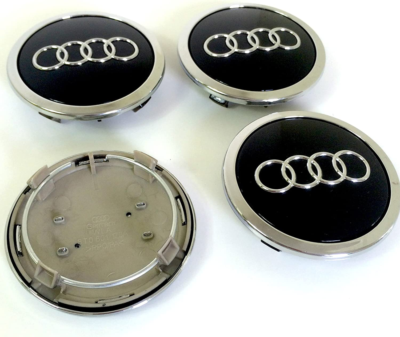 4 x noir audi roue alliage centre caps 69MM A3 A4 A5 A6 s line tt rs Q3 Q7