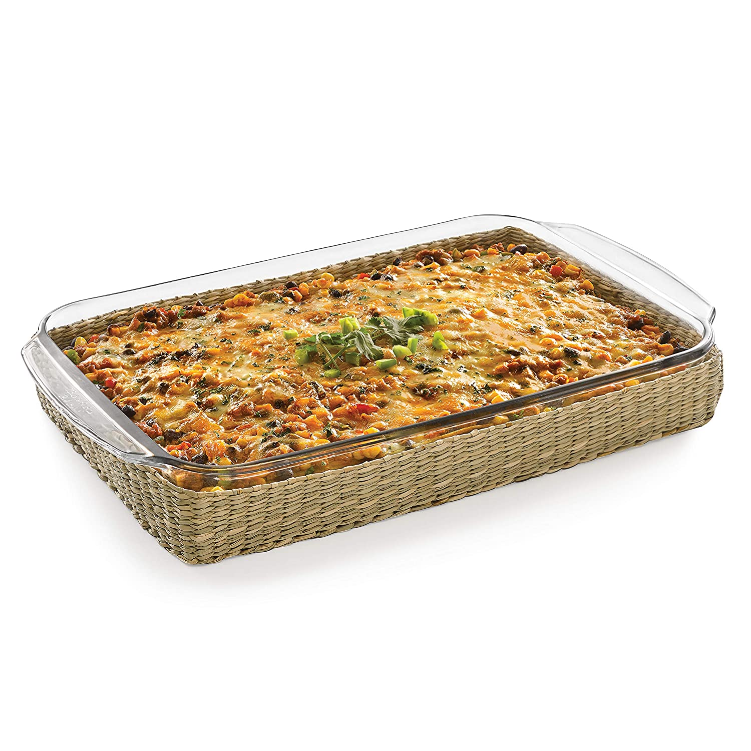 Libbey Bakers Basics Glass Casserole Baking Dish with Basket, 9-inch by 13-inch