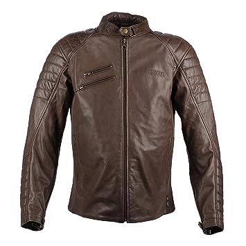 Chaqueta de motociclista vintage de cuero marrón para hombre, de Poisones High Tech, de