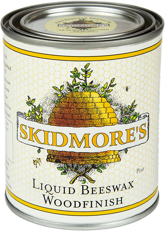 Skidmore's Premium Liquid Beeswax Wood Finish | Natural Non Toxic Formula Will Polish, Condition, Restore Interior Wood | Repair a Scratch, Restores Furniture, Hardwood Floor Restorer | 1 Pint