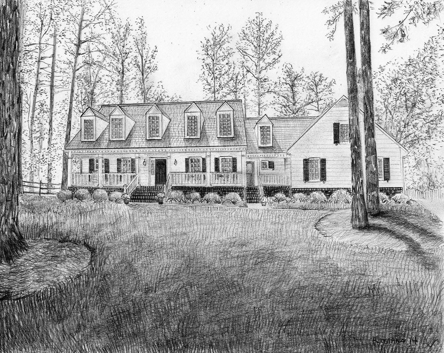 Amazon com custom house drawing portrait from photograph black and white pencil sketch of your home handmade