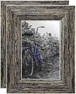 Americanflat 4x6 Rustic Tan Picture Frame with Polished Glass - Horizontal and Vertical Formats for Wall and Tabletop - Pack of 2 (PS0406TAN2PK)