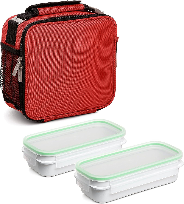 TATAY Urban Food Prime Rojo - Bolsa térmica Porta Alimentos con 2 tápers incluidos, 4,7 litros de capacidad, Tela, Rojo, 11 x 25.5 x 24.5 cm