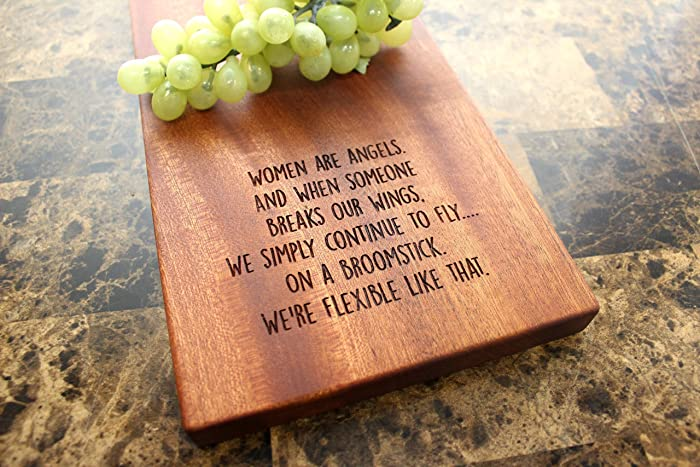 personalized sapele cheese board serving plate birthday gift for her funny present idea