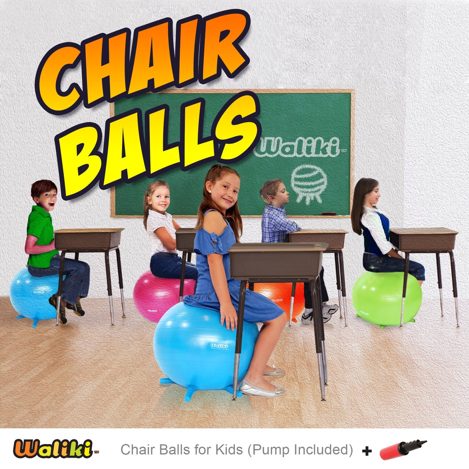 WALIKI TOYS Children's Chair Ball with Feet, Alternative Classroom Seating (Inflatable Balance Ball Chair With Stability Legs for School, Pump Included, 18''/45CM, Orange) by WALIKI (Image #7)