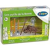 Papo - 51140 - Figurine - Accessoire - La Brouette et Ses Outils - Brouette / Pelle / Seau / Fourche / Bêche / Râteau