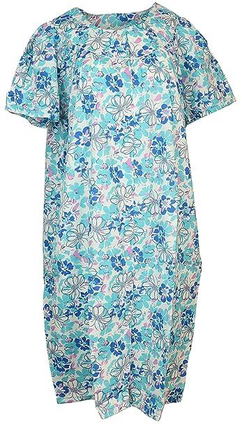 Sindrella Women\'s Plus Size Cotton Blend House Dress Duster Robe, Snap  Front, Pockets