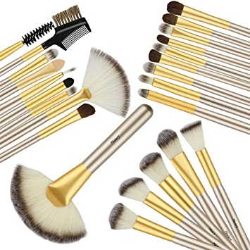 324b3ed4 Foolzy Makeup Brushes, 24 Pieces Professional Makeup Brush Set With Case  Travel Makeup Brush, Foundation Brush Powder Brush Face Brush Blush Brush  Eyeshadow ...