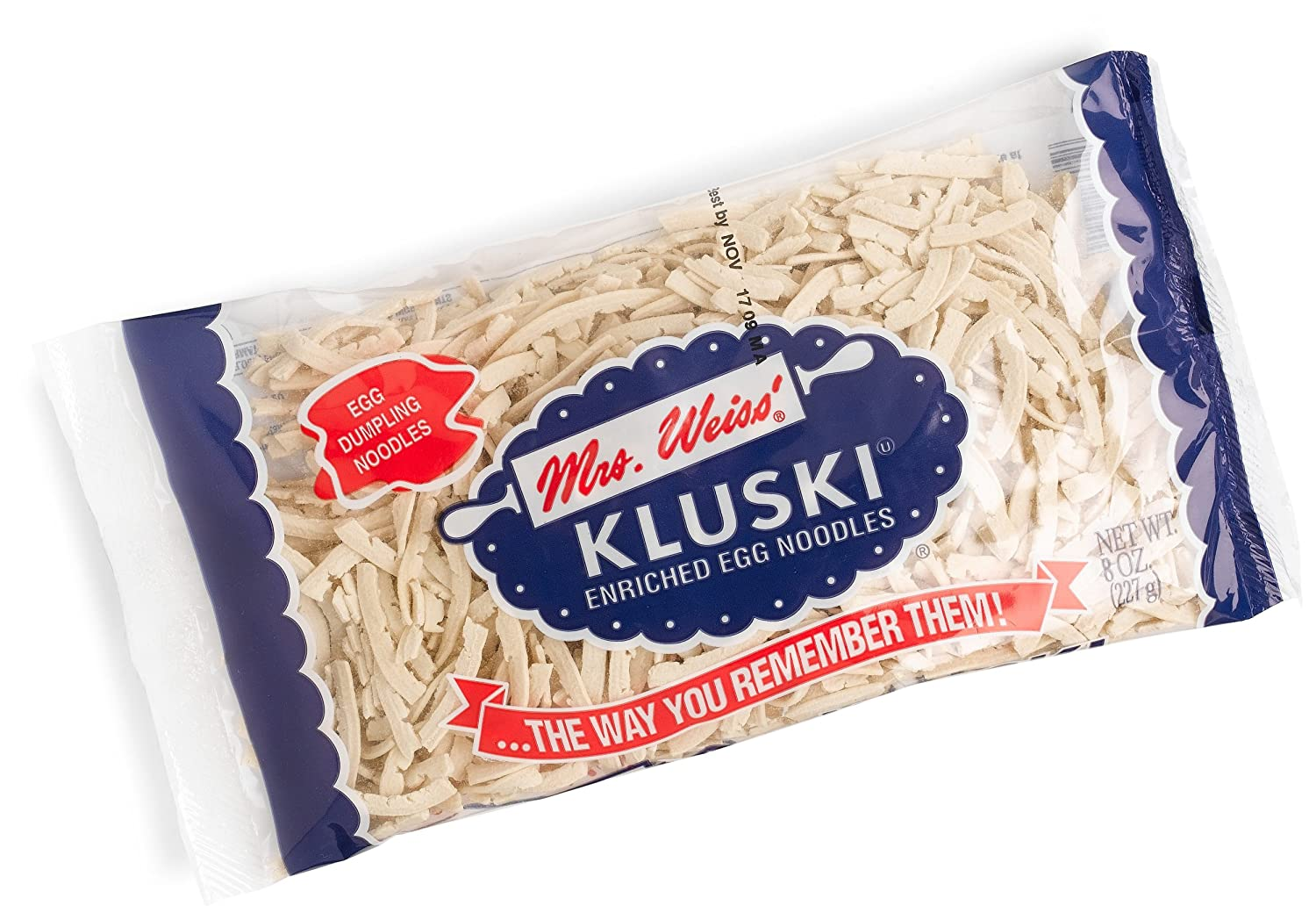 Mrs. Weiss Kluski Enriched Egg Dumpling Noodles, 8-Ounce Packages (Pack of 12)