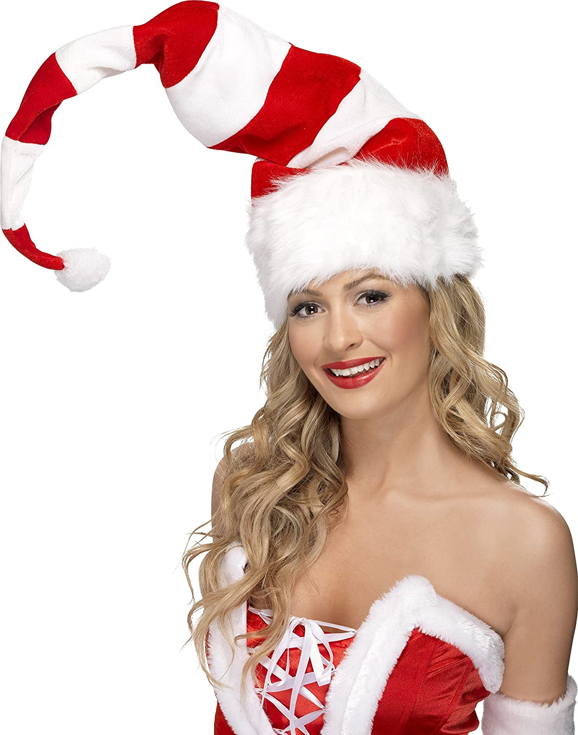 Striped Santa Hat, Red and White Accessories Christmas Fancy Dress smiffys 38328