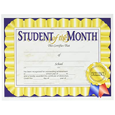"HAYES SCHOOL PUBLISHING VA528 Student of The Month Certificate, 8-1/2"" x 11"" Size, Paper, 0.2"" Height, 10.9"" Width, 8.4"" Length (Pack of 30): Toys & Games"
