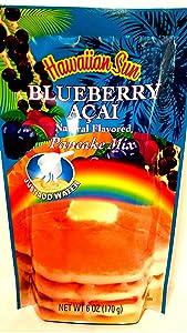 Blueberry Acai Pancake Mix, 6 Ounce Bag by Hawaiian Sun