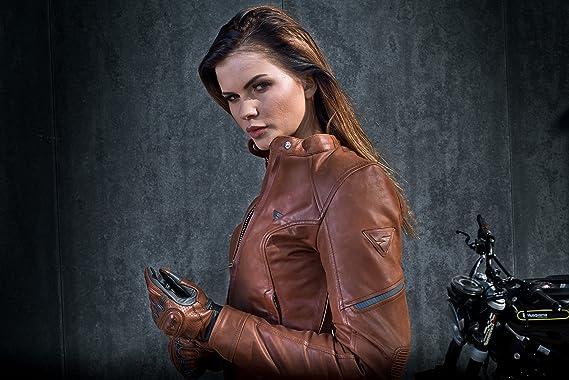 da donna XS-L stile vintage taglia M marrone con protezioni Giacca da motociclista in pelle SHIMA MONACO