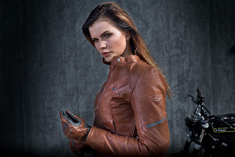 piel Con Protecciones Vintage mujer Verano Retro protector de espalda Shima Monaco Chaqueta para moto