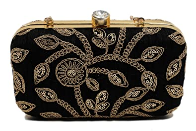 Hand Crafted Designer Box Clutch with Zari Embroidery Work on Silk Texture  Specially Designed for Women 20d4122ebfc9