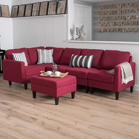 GDF Studio 300801 Carolina Sectional Sofa Set with Ottoman, 6-Piece Living Room Furniture with Storage, Deep Red