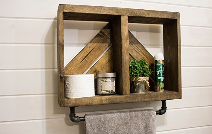 Amazon.com: Rustic Arrow Bath Wall Shelf with Towel Bar: Handmade