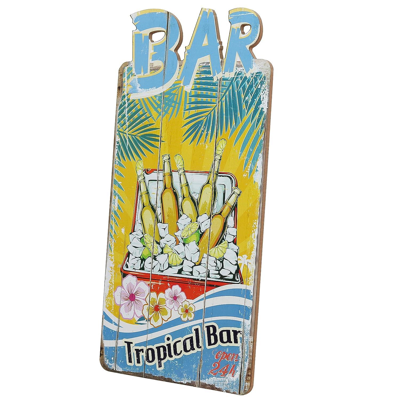 Woodpassion Cartel de Madera Bar Open 24h Cartel 39 x 20 cm ...