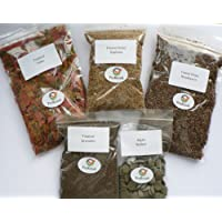 Tropical Fish Food 5 Packs, Flake, Granules, Freeze Dried Bloodworm, Algae Wafers, Daphnia
