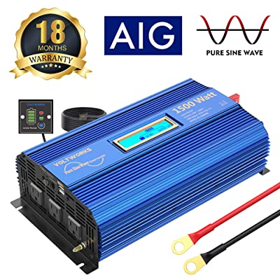 1500W Pure Sine Wave Power Inverter DC 12v to AC 110v-120v with 4.8A Dual USB Ports 3 AC Outlets and Remote Control LCD Display for Home RV Truck: Car Electronics