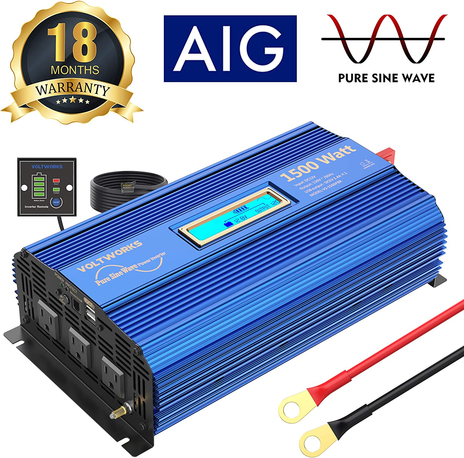 1500W Pure Sine Wave Power Inverter DC 12v to AC 110v-120v with 4.8A Dual USB Ports 3 AC Outlets and Remote Control LCD Display for Home RV Truck