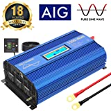 1500W Pure Sine Wave Power Inverter DC 12v to AC 110v-120v with 4.8A Dual USB Ports 3 AC Outlets and Remote Control LCD…