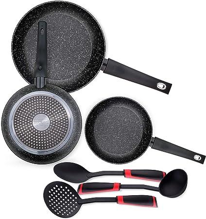 Bergner Orión Set 3 sartenes 20+24+28cm + 3 utensilios en nylon, aluminio forjado, aptas para inducción, Alumino: Amazon.es: Hogar
