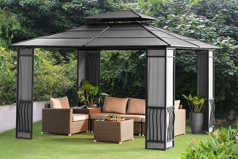 Sunjoy 10 x 12 Wyndham Hardtop Gazebo con tejido Protector de – negro parte superior: Amazon.es: Jardín