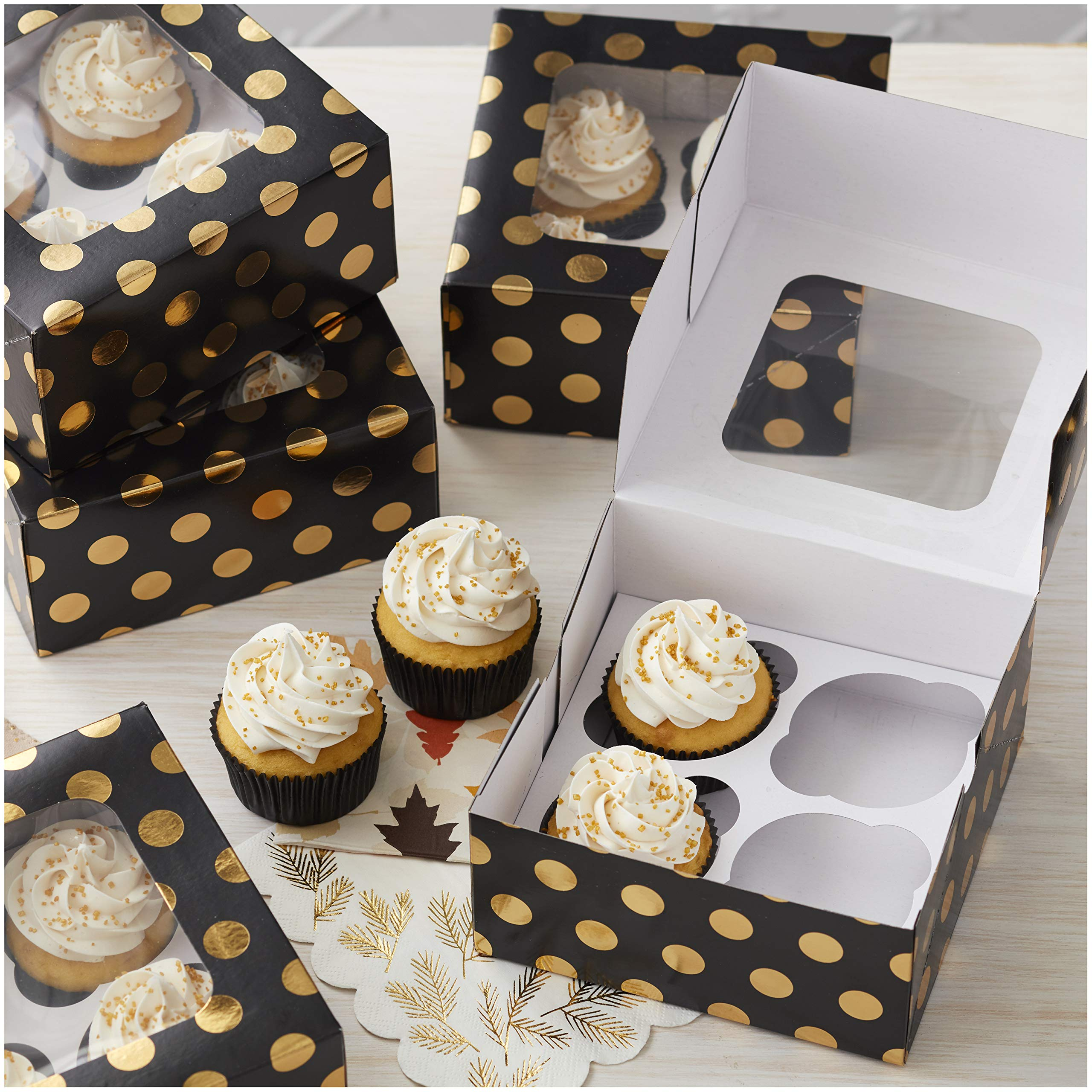 Wilton Autumn Black and Gold Dot Cupcake Boxes, 9-Count by Wilton