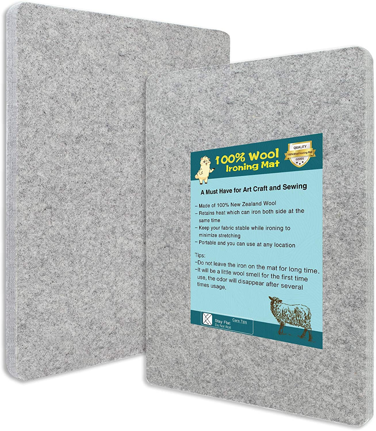 13.5 X 13.5-Wool Pressing Mat for Quilting-New Zealand Wool Ironing Mat-Portable for Quilting,Sewing,Pressing Seams,Embroidery Crafts Perfect