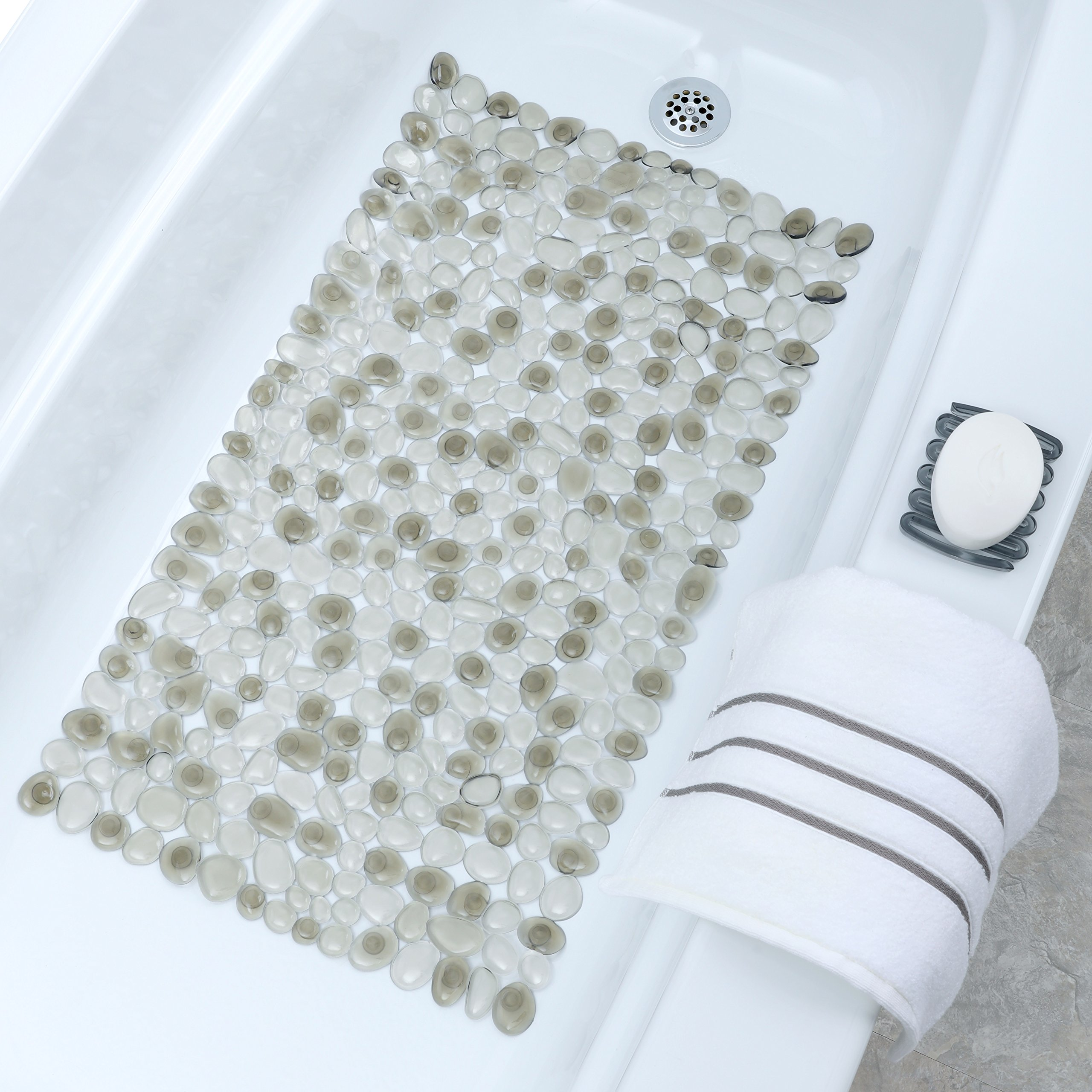 SlipX Solutions Gray Pebble Bath Mat Feels Great on Tired Feet & Helps Prevent Slips (Looks Like River Rocks, 140+ Suction Cups, Machine Washable)