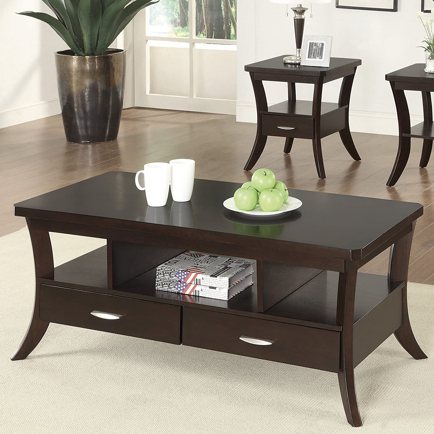 Amazon.com: Coaster Home Furnishings 702508 End Table, Espresso: Kitchen U0026  Dining