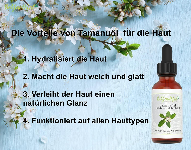 El aceite de Tamanu 100% presionado al frio aceite sin refinar para el cabello, rostro y piel. Potente sanador de piel - Acne, estrias, manchas y otras ...