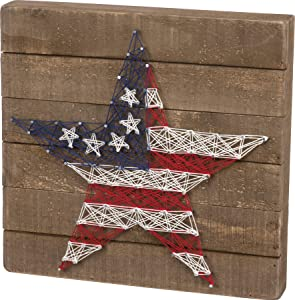 Primitives by Kathy String Art Box Sign, 15.75 x 12-Inches, Stars & Stripes