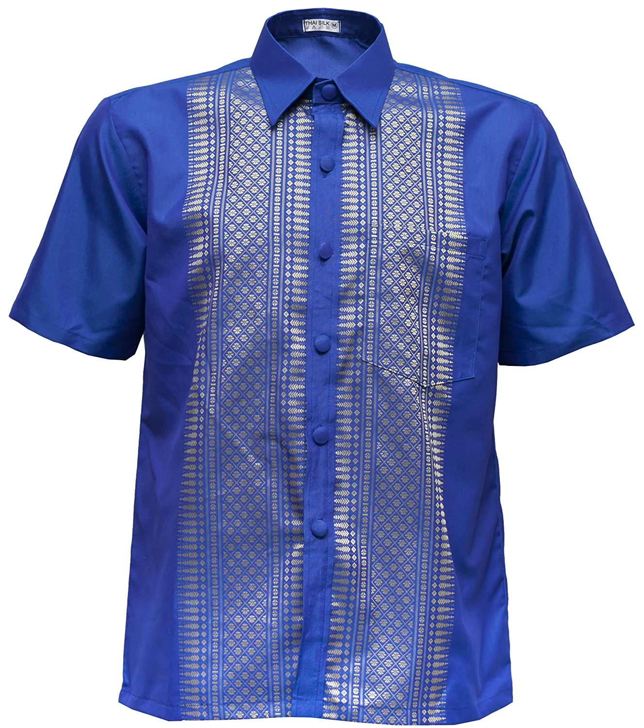 cbca774a3 Men's Shirt Short Sleeve Thai Silk Traditional Straight Collar at Amazon  Men's Clothing store:
