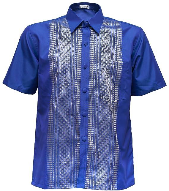 Thai Silk Camisa de Manga Corta de Seda clásico Band Collar de Manga Corta para Hombres